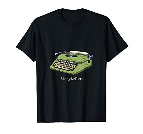 Storyteller Green Typewriter Graphic T-shirt for Men and Women, S to 3XL