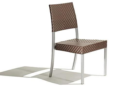 Set composto da nr 2 sedie con struttura in alluminio e seduta in rattan sintetico color titanio