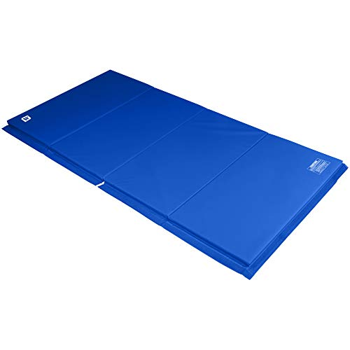 We Sell Mats 4 ft x 8 ft x 2 in Gymnastics Mat, Folding Tumbling Mat, Portable with Hook & Loop Fasteners, Blue