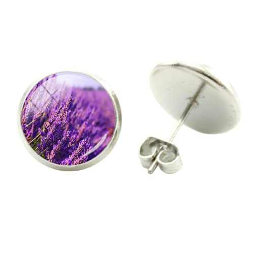 Pendientes de lavanda con diseño de flores moradas para mujer, diseño de flores, diseño redondo, ideal para fiestas