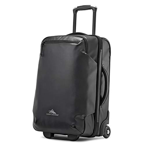 High Sierra Rossby 22-inch Coated Upright Wheeled Luggage Suitcase - Rolling Upright Luggage for Travel - Large Multi-compartment Luggage Suitcase with Wheels, Black
