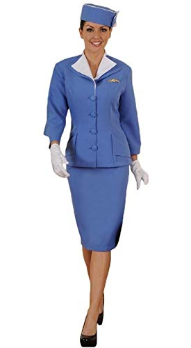 Retro Vintage 60s Stewardess Flight Attendant Costume Limited Edition (XL) Blue