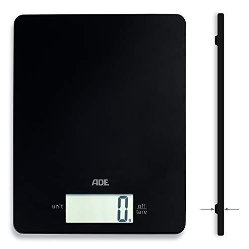 ADE Digitale Küchenwaage KE 1800-4 Leonie (Elektronische Küchenwaage Haushaltswaage digital, extrem flache Backwaage, präzises Wiegen bis 5 kg, Zuwiegefunktion) schwarz
