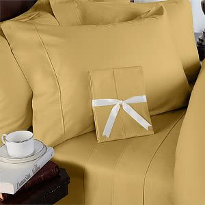 Best Buy! Gold Plain - Solid Single Size Size FIVE piece [5] Bed Sheet Set (Deep Pocket) with THREE ...