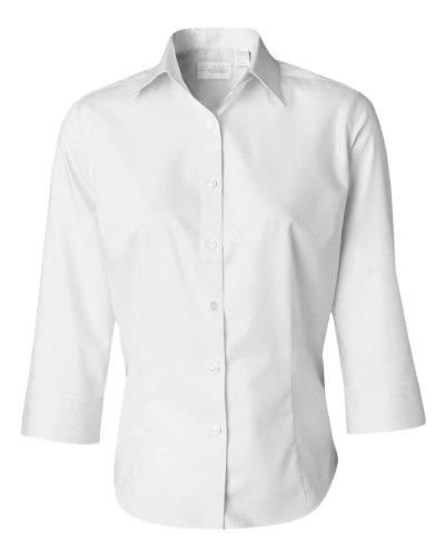 VAN HEUSEN V0527 Ladies' 3/4-Sleeve Dress Twill - Small - White