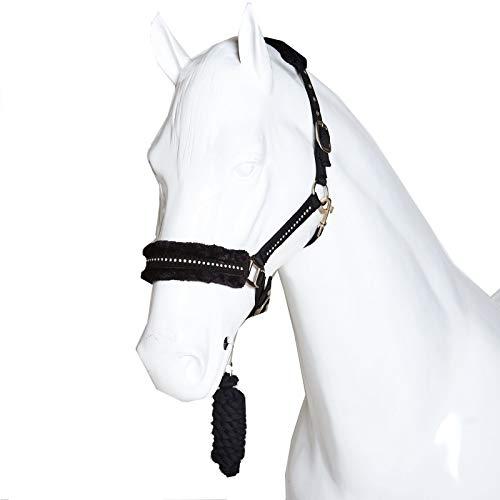 Caballo blanco ecuestre diamante cabeza collar - Faux Fleece ajustable caballo Pony