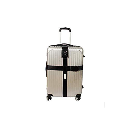 Queta Koffergurt TSA Schloß Kofferband Kreuz Gepäckgurt Reise Luggage Straps (Schwarz)