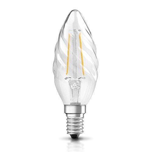 OSRAM Ampoule LED à Filament   Culot E14   Forme Flamme Torsadée   Blanc Chaud 2700K   2W (équivalent 23W)