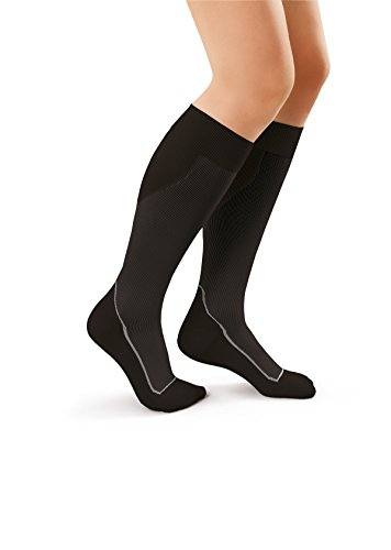 JOBST Sport Knee High 15-20 mmHg Compression Socks, Black/Cool Black, Medium
