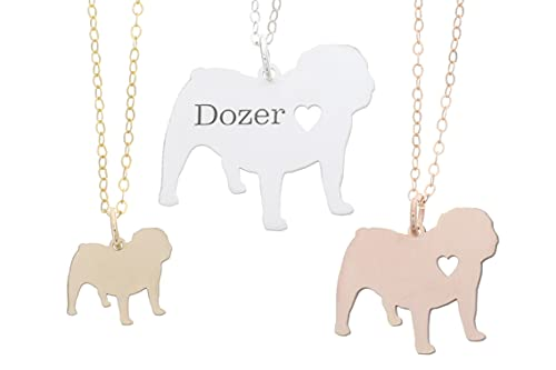English Bulldog Necklace - IBD - British Leavitt - Personalize Name Date - Pendant Size Options - Sterling Silver 14K Rose Gold Filled