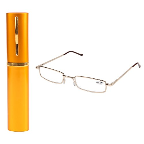 Cold Toy Federscharnier Lesebrille Damen Herren Metall Schmal Klein Mini Leicht Lesehilfe Sehhilfe Klare Arbeit Brillen Stärke mit Etui (Gelb, 2.00)