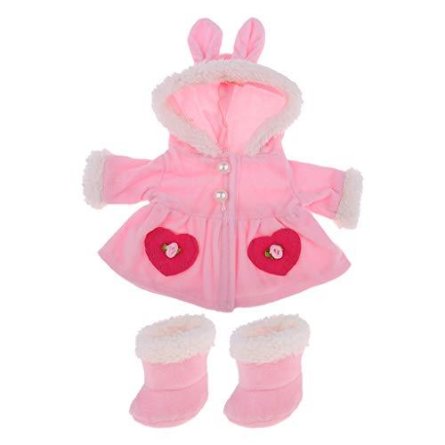 perfeclan Precioso Abrigo con Sombrero de Conejo, Botas, Trajes para Mel Chan Body Doll para Muñeca Reborn de 9-12 Pulgadas Y Muñeca de Tamaño Similar, Moda Par