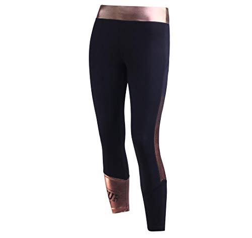 BOXEUR DES RUES BXT-1629 Leggings avec des détailles en Couleurs contrastée Femme, Noir-Or-Rose, FR (Taille Fabricant : XS)