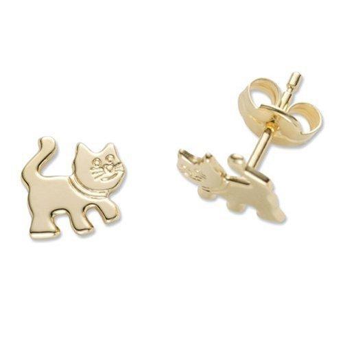 Miore Schmuck Kinder Mädchen Ohrstecker Katze Ohrringe aus Gelbgold 18 Karat / 750 Gold