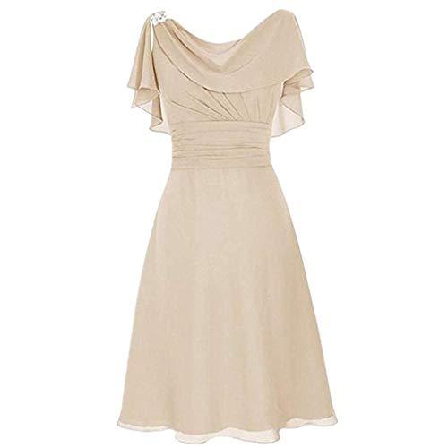 LOPILY Abendkleid Große Größen Damen Rüschen Kurzarm V-Ausschnitt Cocktail Kleid Rückenfreies Kleid Übergrößen Festliche Kleider für Damen Große Größen Kleid für Hochzeit Gast (Beige, DE-46/CN-4XL)