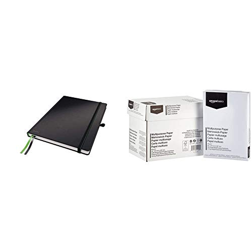 Leitz 44710095 Complete Notizbuch (A4, kariert) schwarz & Amazon Basics Druckerpapier, DIN A4, 80 g/m², 5x500 Blatt, Weiß