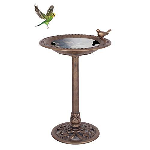 GOPLUS Vogeltränke, Vogelbad, Vogelfutterstation, Vogelfutterspender, Vogelfuttersäule, Futtersäule, Vogelfutterautomat, mit einem Vogel auf der Wasserschale, für Wildvögel (Bronze)