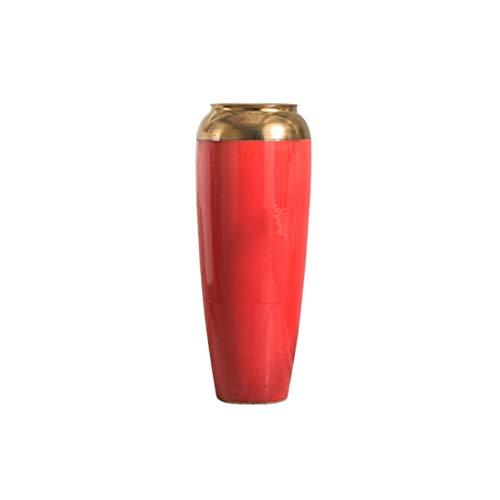 Z-W-DONG Große Vase, Boden Keramik Vase Hotel Shop Einweihungszeremonie Vase im chinesischen Stil Vase, leicht zu reinigen, Rot, Höhe: 50cm / 60cm / 75cm vasen deko ( Color : Red , Size : 37*37*75CM )