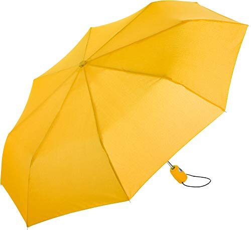 FARE Mini-Taschenschirm – 18 Farben Premium-Regenschirm öffnet-schließt-automatisch flexibel windsicher stabil wasserdicht TÜV-Zertifiziert Markenschirm (gelb)