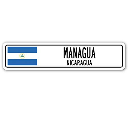 TNND New Managua Nicaragua Straßenschild Nicaragua Flagge Stadt Landstraße Wand G Straßenschild 10,2 x 40,6 cm