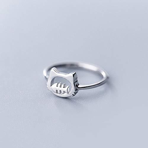 PRAK Damen Ring 925 Sterling Silber Verstellbar,Cat Fishbone Tier Ring Girls Kids Cute Verschleiß Geburtstagsgeschenk Student Style Bankett Wesentliche Kleidung Passende Geschenk