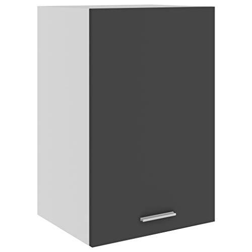 vidaXL Armario de Cocina Muebles Mobiliario Duradero Mesa de Trabajo Almacenamiento Cuencos Platos Ollas Alacena de Aglomerado Gris 39,5x31x60 cm