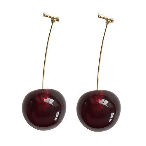 Lindo Pendientes de cereza Cereza Aretes Rojo Oscuro
