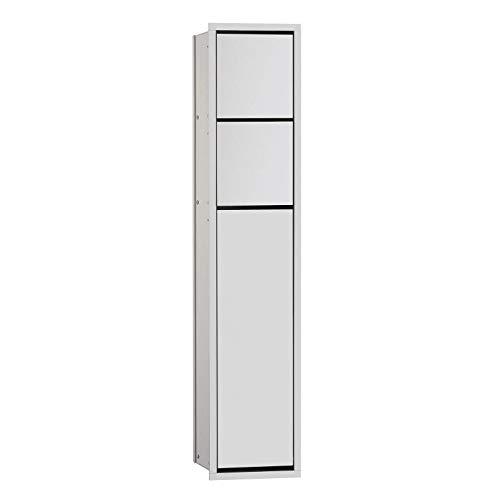emco ASIS 150 Unterputz-Schrankmodul für das Gäste-WC, Badezimmerschrank als Toilettenpapierhalter & Klobürstenhalter mit extra Fach, Hochschrank mit