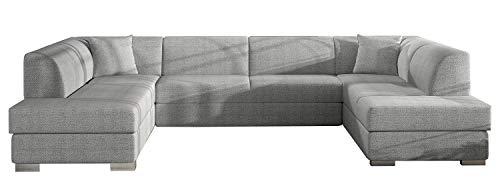 Alter GM Big U-SHAPED SOFA BED Arco-U K Seater Sleeping Function Storage Elegant Couch Many Colours 340cm 11'1'' (Light Grey (malmo 83))