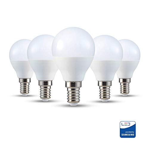 V-TAC E14 LED Lampe P45, Tropfenform, 5.5W (ersetzt 40W), tageslichtweiß, 5er-Pack