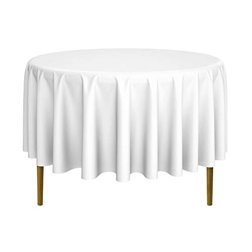 "Lann's Linens - 20 Premium 90"" Round Tablecloths for Wedding/Banquet/Restaurant - Polyester Fabric Table Cloths - White"