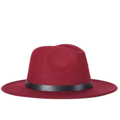 Hombres Fedoras Moda Mujer Sombrero de Jazz Verano Primavera Gorra Negra Sombrero Casual al Aire Libre X XL-Wine red-56-58CM