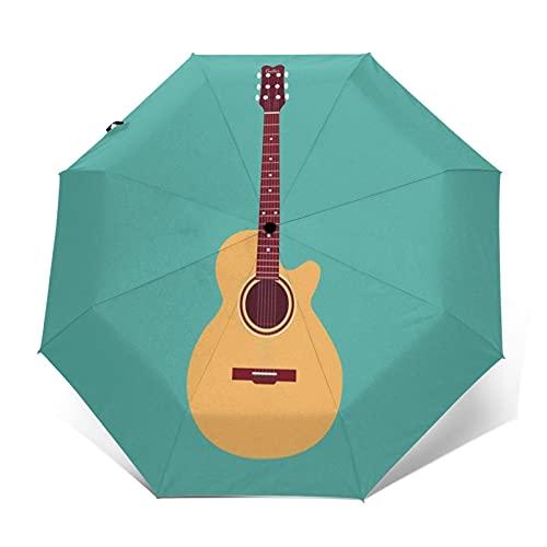 Paraguas Plegable Automático Impermeable Guitarra Acústica Clásica, Paraguas De Viaje Compacto Prueba De Viento, Folding Umbrella, Dosel Reforzado, Mango Ergonómico
