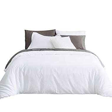 SUSYBAO 3 Pieces Duvet Cover Set 100% Natural Cotton Queen Size 1 Duvet Cover 2 Pillow Shams Solid White Luxury Quality Ultra Soft Breathable Comfortable Lightweight Durable Bedding with Zipper Ties