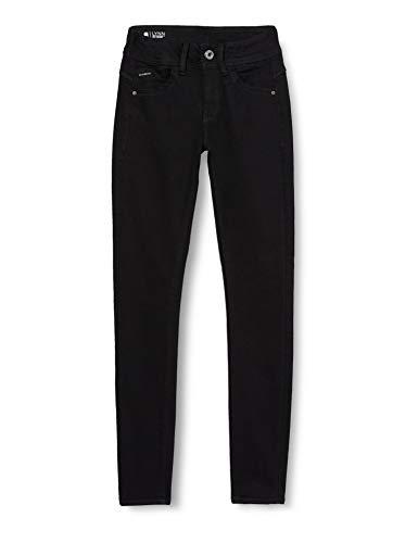 G-STAR RAW Lynn Mid Waist Skinny Jeans, Pitch Black, 28W / 30L para Mujer