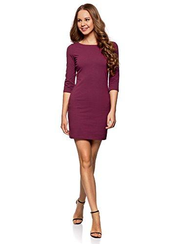 oodji Ultra Damen Baumwoll-Kleid Basic, Violett, DE 34 / EU 36 / XS