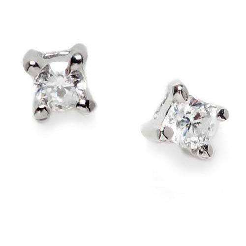 Superstar Orecchini Donna in Oro 18 carati Bianco con Diamante H/SI (totale diamanti 0.06 ct), Linea Solitario Punto luce, 1.2 Grammi