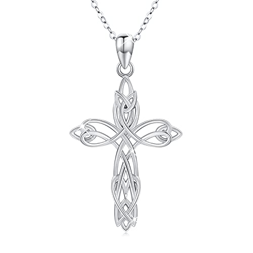 Celtic Knot Cross Necklace for Women 925 Sterling Silver Irish Celtics Cross Necklace Celtic Knot Cross Pendant Jewelry Birthday Halloween Fathers Day Gift for Men Women Teen