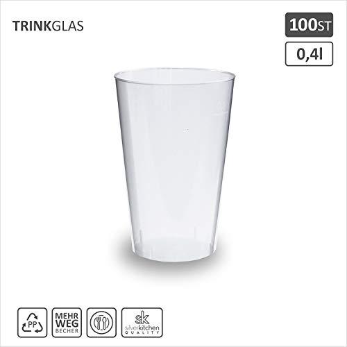 100x Trinkbecher 400ml | transparent bruchsicher | Cocktail Becher aus PP | alt. zu Einweg | Made In Germany | silverkitchen ®