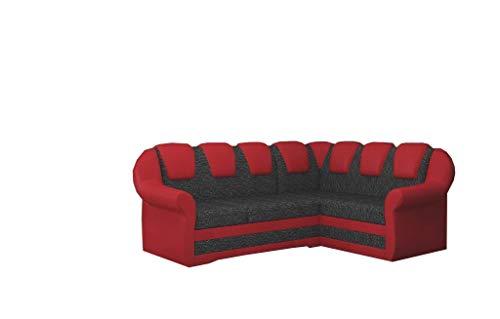 MOEBLO Ecksofa mit Schlaffunktion mit Bettkasten Couch L-Form Polstergarnitur Wohnlandschaft Polstersofa mit Ottomane Couchgranitur - JORG II (Dunkelgrau +Rot (Berlin 02+Soft 10), Ecksofa Rechts)