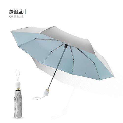 Dreifach gefalteter ultraleichter automatischer Titansilber-Sonnenschutzregenschirm für Frauen mit doppeltem Verwendungszweck Quiet Blue 21 inch 8 Bone