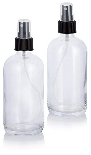 8 oz Clear Boston Round Thick Plated Glass Bottle with Black Mist Spray (2 Pack)