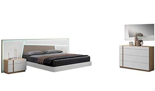 Buy Bargain Anna Modern King Bedroom Set in Matt White & Natural Oak, 5-Piece