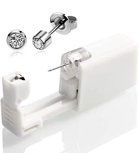 QINGQING La Nueva Herramienta de Unidad de Seguridad desechable para Piercing de Oreja estéril sin Dolor con Kit de perforación de asepsia para niñas,Mujeres y Hombres (2 Piezas)