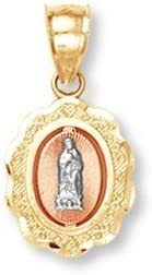 Saint Collection 10k Tri-Color Gold Santa Maria Miraculous Medal Charm Catholic Pendant