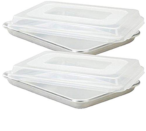 Commercial Grade Half Size Aluminum Baking Sheet Pan with 2 Snap-Tight Plastic Lid Covers, 13' x 18', Set of 2, NSF Approved
