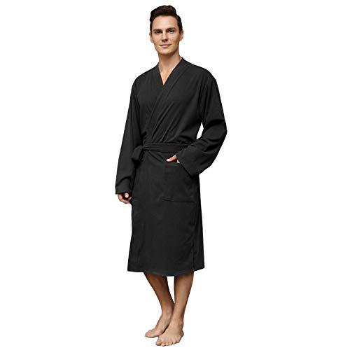 Vulcanodon Mens Robe Fleece, Warm Robes for Men with Pockets Lightweight Mens Bathrobe Soft Sleepwear(Black, 2XL/3XL)