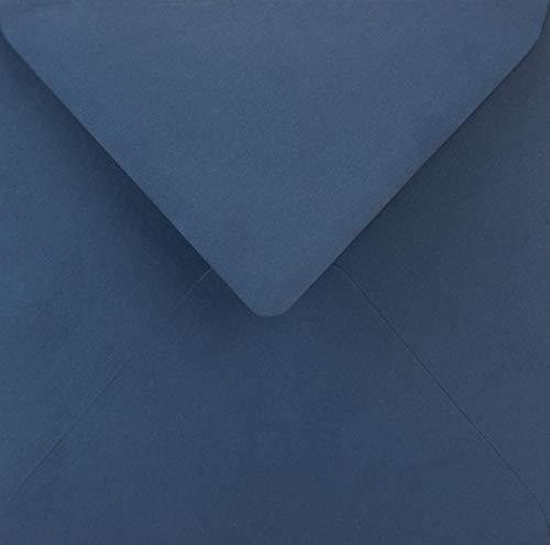 25 Blau quadratische Briefumschläge ohne Fenster Spitzklappe 153x153 mm 115g Sirio Color Blu farbige Umschläge quadratisch Brief-Kuverts bunt für Hochzeit Geburtstag Taufe Weihnachten