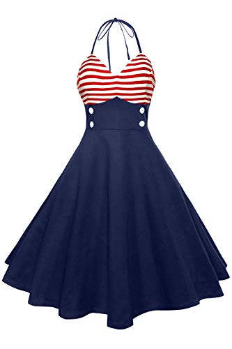 Axoe Damen 50er Jahre Pinup Neckholder Kleider mit Gestreift Rockabilly Halterneck Streifen Marine Partykleid Knielang, Navy Blau /Rot Streifen, EU40-L