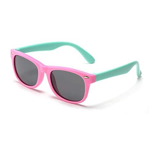 Suertree Polarisierte Sonnenbrille Kids Square Silikon Flexible Anti UV 400 Brille Jungen Mädchen Anzug für 3-12 Jahre Pink frame green legs